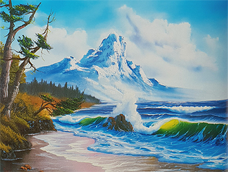 Öl Malkurs nach Bob Ross - Mountain by the sea